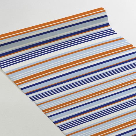 Chemin de table rayé bleu orange bleu pâle et blanc