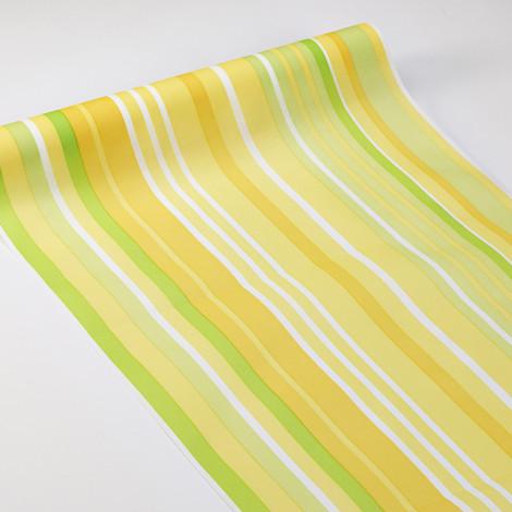 Chemin de table rayé en camaïeu de vert, jaune et blanc
