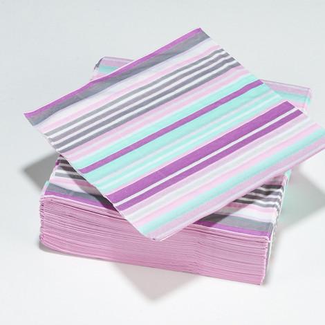 Serviettes rayé en gris, violet, bleu et blanc.