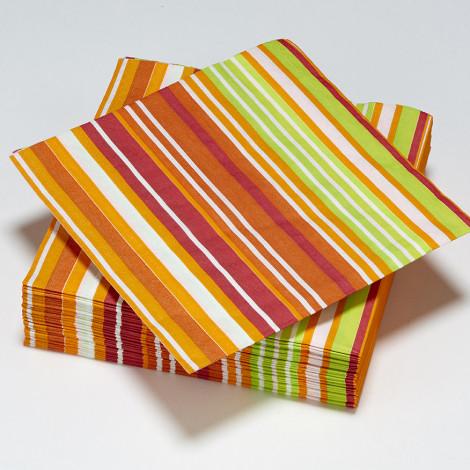 Serviettes rayés de tons automnales orangés, rouge, et une pointe de vert.