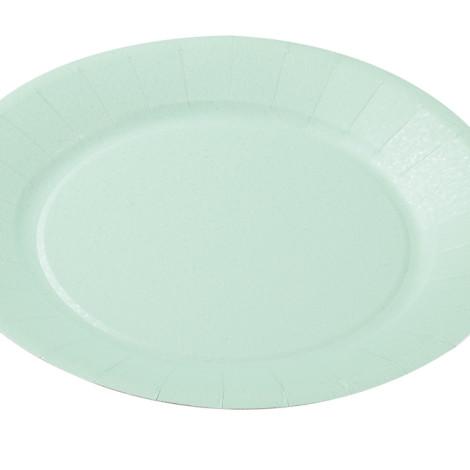 Assiettes en carton rigide de couleur bleu aqua