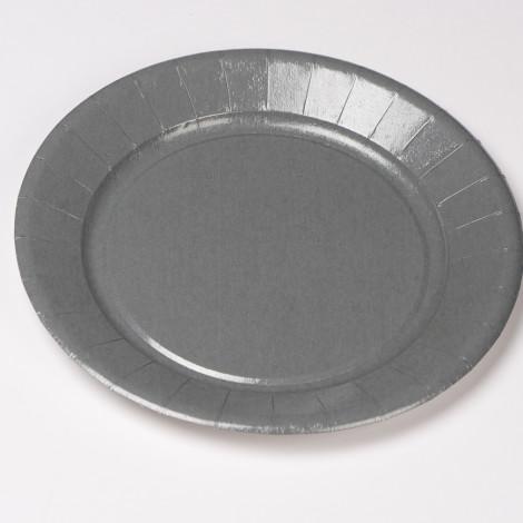 Assiettes en carton rigide gris argent