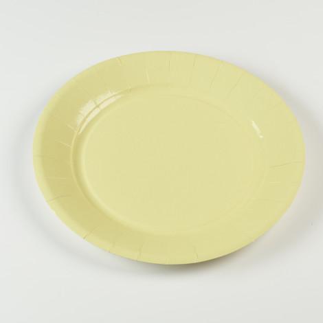 Assiettes en carton rigide de couleur jaune pâle