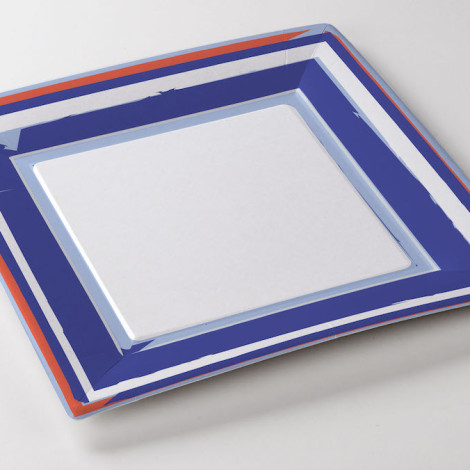Assiette carrée en carton thème marin bleu océan