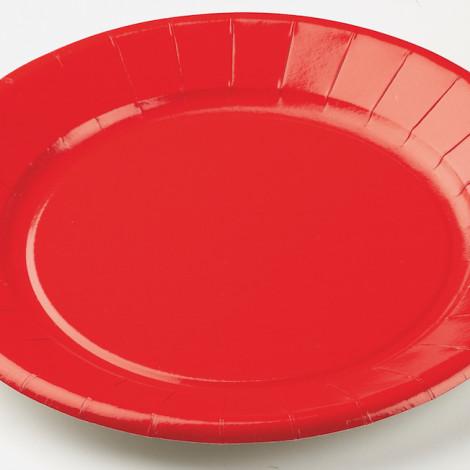 Assiettes en carton rigide de couleur rouge