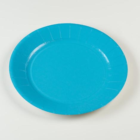 Assiettes en carton rigide de couleur bleu turquoise
