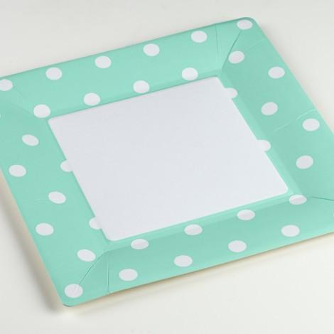 Assiettes carrées en carton mixy aqua bleu