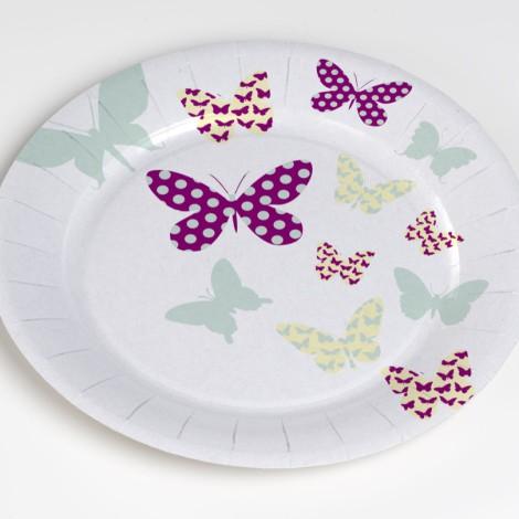 Assiettes en carton, motifs papillons
