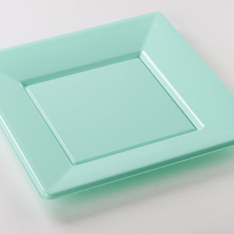 Assiettes en plastique rigide de couleur bleu aqua