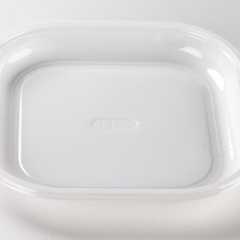 Assiettes carrées en plastique alimentaire, de couleur blanche