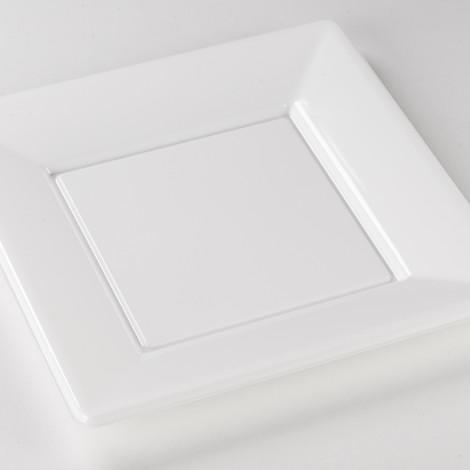 Assiettes carrées en plastique rigide de couleur blanche