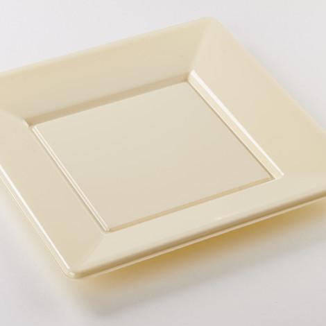 Assiettes carrées en plastique rigide de couleur creme