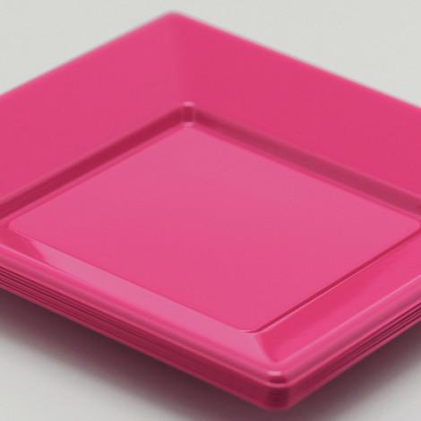 Assiettes carrées en plastique rigide de couleur rose fuchsia