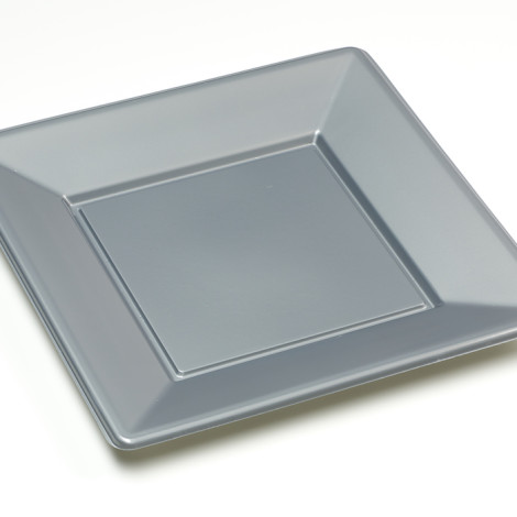 Assiettes carrées en plastique rigide, gris argenté