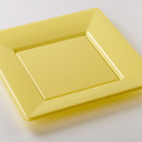 Assiettes carrées en plastique rigide de couleur jaune pâle