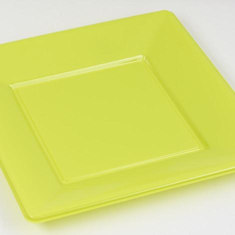 Assiettes carrées en plastique rigide de couleur vert