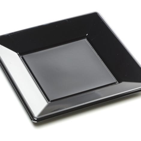 Assiettes carrées en plastique rigide de couleur noir