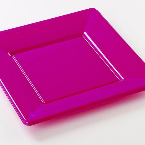 Assiettes carrées en plastique rigide de couleur rose orchidée