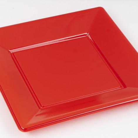 Assiettes carrées en plastique rigide de couleur rouge