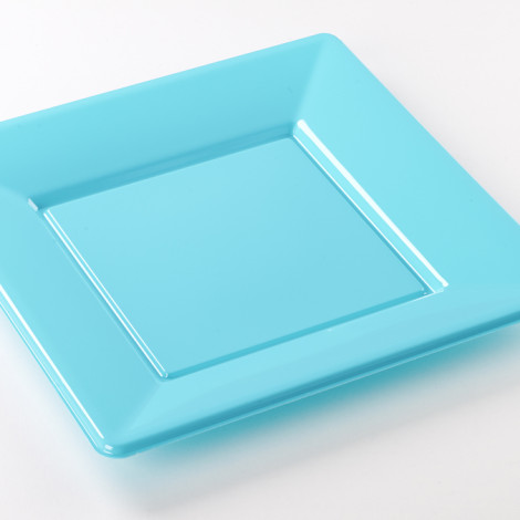 Assiettes carrées en plastique rigide de couleur bleu turquoise