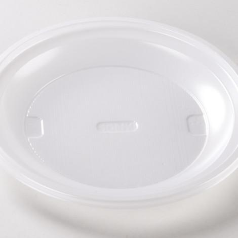 Assiettes rondes en plastique alimentaire, de couleur blanche