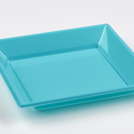 Assiettes creuses en plastique rigide de couleur bleu turquoise