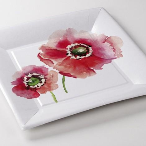 Assiettes carrée Poppy fleurs aquarelles interieurs