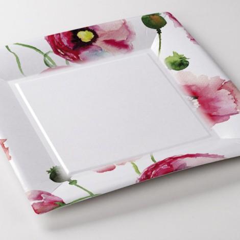 Assiettes carrée Poppy fleurs aquarelle exterieur