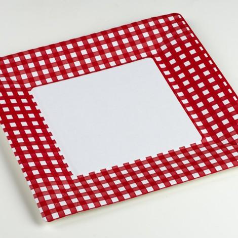 Assiettes carrées vichy carreaux rouges