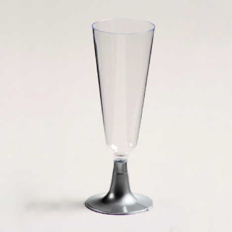 Flute à champagne en plastique, pied gris