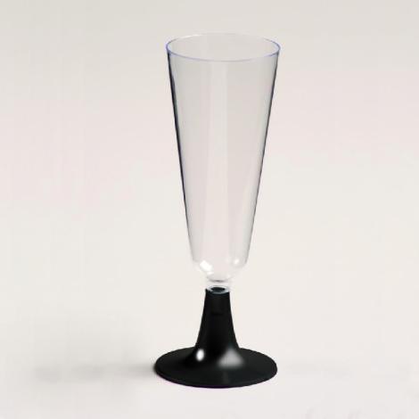 Flute à champagne en plastique, pied noir
