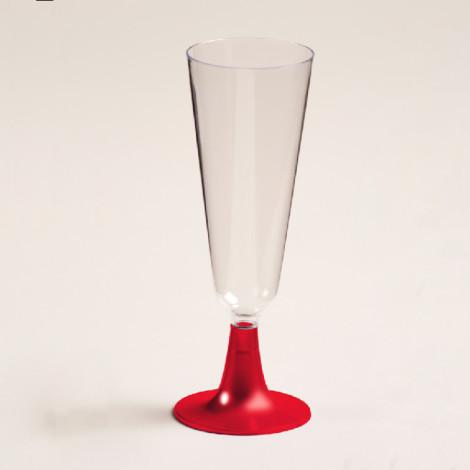 Flute à champagne en plastique, pied rouge