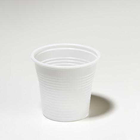 Petit gobelet en plastique 8cl, de couleur blanc