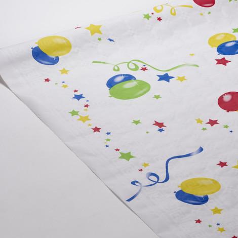 Nappe fiesta, motifs ballons explosion d'étoiles et de confettis, pour habiller des tables d'anniversaires.