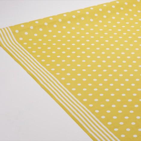 Nappe originale Mixy jaune canari. Motifs points et rayures.
