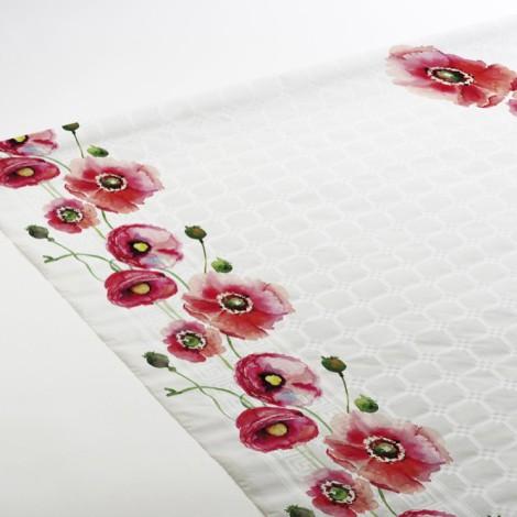 Nappe gaie et colorée en papier gaufrée, aux motifs coquelicots