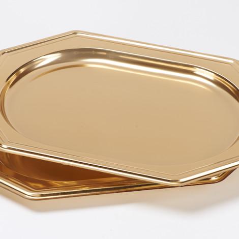 Plateau en plastique alimentaire de couleur or , pour réception raffinée