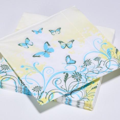 Serviettes en papier papillions, de couelur bleu et jaune