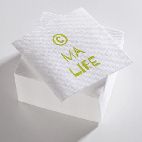 """Serviettes blanches et vertes """"C ma life"""""""