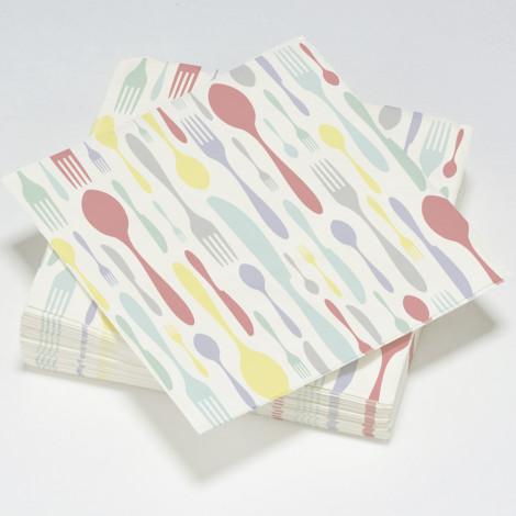 """Serviettes en papier motif orginale """"couverts"""""""