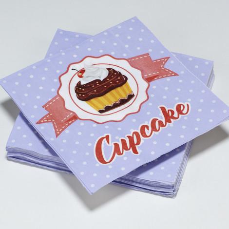 Serviettes en papier violet à pois blanc motif Cupcake