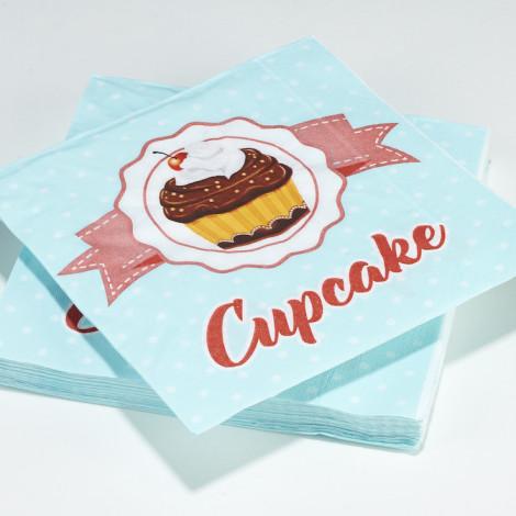 Serviettes en papier aqua à pois blanc motif Cupcake