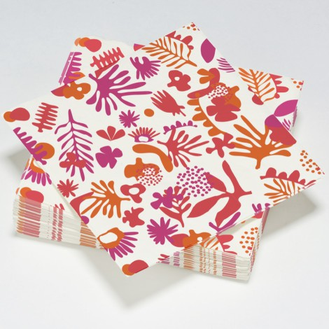 Serviettes en papier exotic rouge, orange et violet
