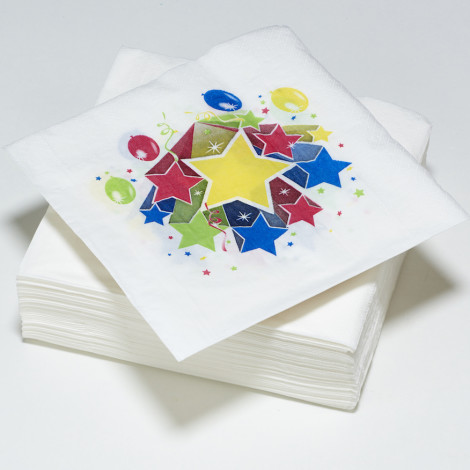 Serviettes en papier Fiesta blanches, étoiles multicolores