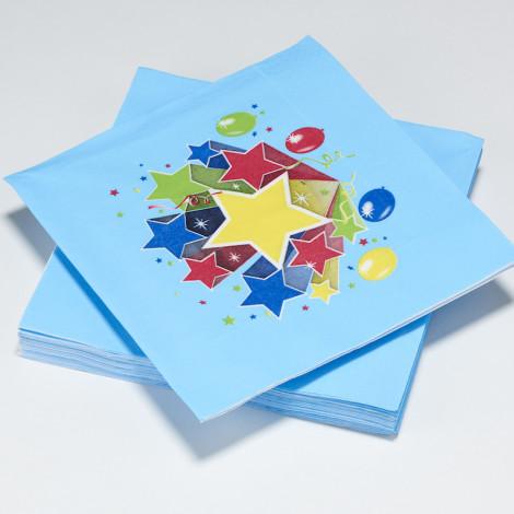 Serviettes en papier Fiesta, bleu, étoiles multicolores