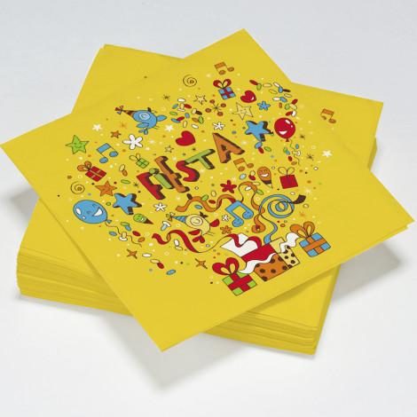 Serviettes en papier Fiesta jaunes, étoiles multicolores