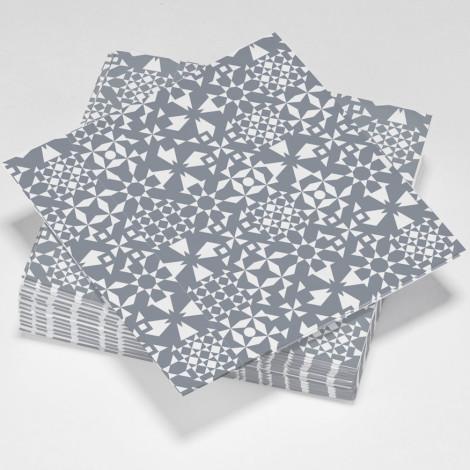 Serviettes en papier fractal, illusion d'optique grises et blanches