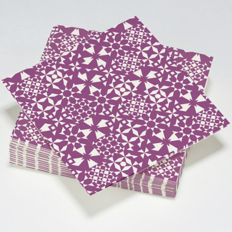 Serviettes en papier fractal, illusion d'optique violettes