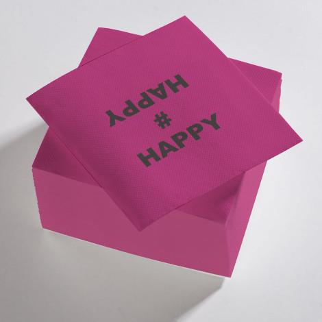 """Serviettes en papier viollettes et noires """"Happy"""""""