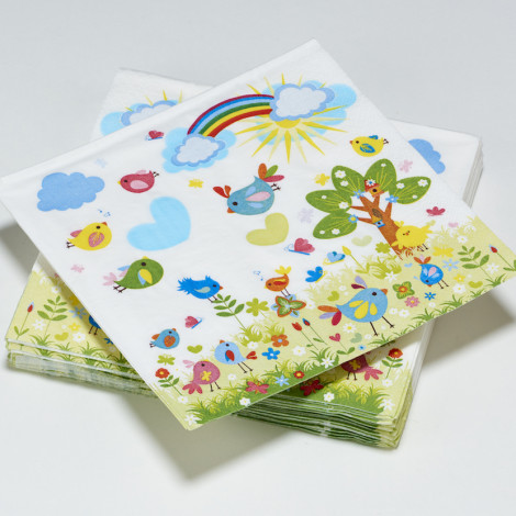 Serviettes en papier Happy Party jardin arc-en-ciel- oiseaux